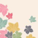 Teste padrão de canto com as folhas que voam afastado ilustração do vetor