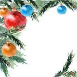 Teste padrão de canto das bolas do Natal e dos ramos do pinho fotografia de stock