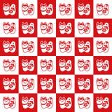 Teste padrão de Checkerd com as bonecas japonesas do cão do guardião Imagem de Stock Royalty Free