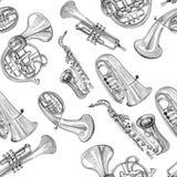 Teste padrão de cobre da música de banda filarmônica da aquarela Fotografia de Stock Royalty Free
