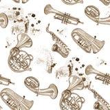 Teste padrão de cobre da música de banda filarmônica da aquarela Fotos de Stock