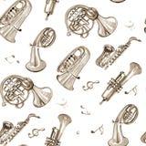 Teste padrão de cobre da música de banda filarmônica da aquarela Foto de Stock