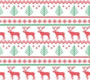 Teste padrão de confecção de malhas do feriado de inverno com as árvores de Natal Projeto de confecção de malhas da camiseta do N imagem de stock