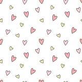 Teste padrão de corações desenhados à mão no rosa e amarelo sem emenda A imagem de fundo do vetor para o feriado, festa do bebê,  ilustração royalty free
