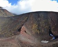 Teste padrão de crateras laterais do flanco de Etna Southern da montagem Foto de Stock Royalty Free