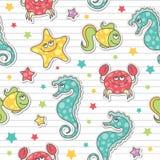 Teste padrão de criaturas do mar Imagem de Stock