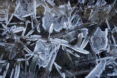 Teste padrão de cristais de gelo Fotografia de Stock Royalty Free