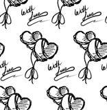 Teste padrão de dois corações e fitas Imagens de Stock