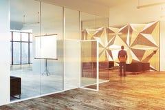 Teste padrão de estrela e sala de reunião do vidro, homem do cartaz Foto de Stock Royalty Free