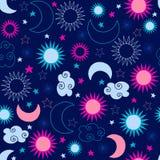 Teste padrão de estrelas celestial de Sun ilustração do vetor