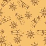 Teste padrão de estrelas da canela e do anis Ilustração desenhada mão do vetor ilustração royalty free