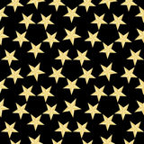 Teste padrão de estrelas do ouro no fundo preto Ilustração do vetor Textura abstrata à moda moderna Textura geométrica abstrata d Imagens de Stock Royalty Free