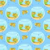Teste padrão de Fishbowl com peixes e decorações teste padrão do aquário Fotos de Stock Royalty Free