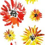Teste padrão de flor alaranjado sem emenda do áster da aquarela ilustração do vetor