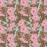Teste padrão de flor antigo da cor-de-rosa da antiguidade do vintage Imagens de Stock Royalty Free