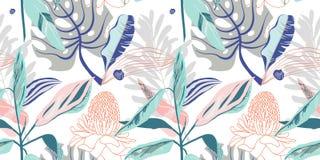 Teste padrão de flor artístico sem emenda na moda original, trop bonito ilustração royalty free