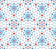 Teste padrão de flor azul e vermelho pequeno Fotos de Stock Royalty Free