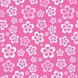 Teste padrão de flor cor-de-rosa sem emenda retro abstrato do vetor Fotos de Stock Royalty Free