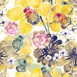 Teste padrão de flor da aquarela Fotografia de Stock