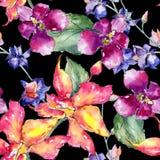 Teste padrão de flor da orquídea do Wildflower em um estilo da aquarela ilustração do vetor