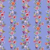 Teste padrão de flor do cardo do Wildflower em um estilo da aquarela ilustração stock