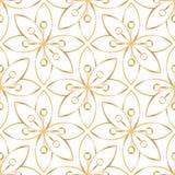 Teste padrão de flor dourado linear sem emenda Foto de Stock