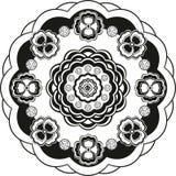Teste padrão de flor no círculo preto e branco Imagens de Stock