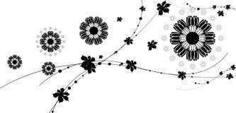 Teste padrão de flor preto Fotografia de Stock Royalty Free