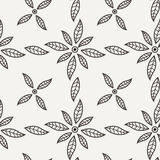 Teste padrão de flor preto e branco do vetor Foto de Stock Royalty Free