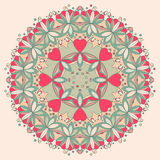 Teste padrão de flor redondo decorativo com corações ilustração do vetor