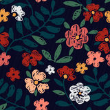 Teste padrão de flor sem emenda tirado mão Imagem de Stock