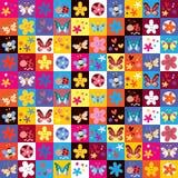 Teste padrão de flores bonito dos besouros das borboletas ilustração royalty free
