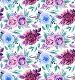 Teste padrão de flores da aquarela Fotos de Stock Royalty Free
