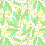 Teste padrão de flores da mola Teste padrão amarelo e branco ilustração do vetor