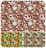 Teste padrão de flores - jogo de 3 Imagens de Stock Royalty Free