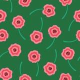 Teste padrão de flores líquido cor-de-rosa no fundo verde fotos de stock royalty free