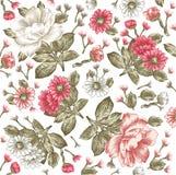 Teste padrão de flores realístico Fundo barroco do vintage Camomila, peônias wallpaper Gravura do desenho Victorian do vetor Fotos de Stock Royalty Free