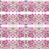 Teste padrão de flores, rosa do vermelho com aquarela das folhas Foto de Stock Royalty Free