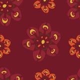 Teste padrão de flores vermelho retro Fotografia de Stock Royalty Free