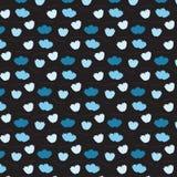 Teste padrão de flutuação da flor azul macia no fundo preto Fotografia de Stock Royalty Free