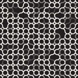 Teste padrão de grade irregular dos círculos preto e branco sem emenda do vetor Imagem de Stock Royalty Free