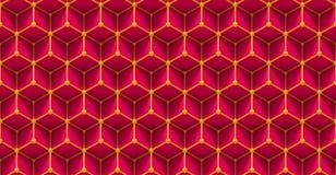 Teste padrão de grade sem emenda de cubos tridimensionais e de esferas pequenas no rosa e no amarelo Fotos de Stock