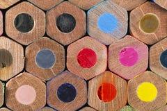 Teste padrão de lápis empilhados da cor Fotos de Stock Royalty Free