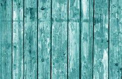 Teste padrão de madeira da cerca no tom ciano imagem de stock