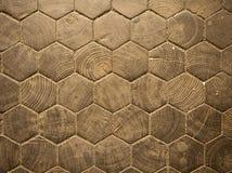 Teste padrão de madeira do hexágono Fotografia de Stock
