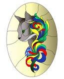 Teste padrão de mosaico do vitral do gato com as curvas da cor no fundo do ouro ilustração do vetor