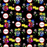 Teste padrão de mosaico engraçado dos caracóis Imagem de Stock