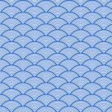 Teste padrão de onda azul retro japonês do mar ilustração royalty free
