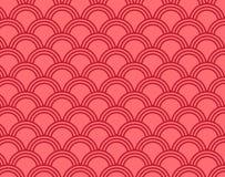 Teste padrão de onda japonês Fundo vermelho do teste padrão do círculo ilustração stock