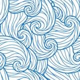 Teste padrão de ondas desenhado à mão abstrato sem emenda, fundo ondulado Imagens de Stock Royalty Free